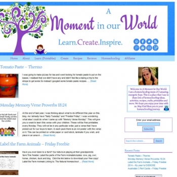 A Moment in our World - Wordpress blog desgin
